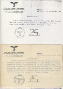 Document gebruik fiets okt 1944