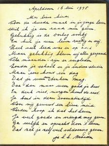 Fragment uit Ria's poeziealbum