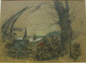 Gezicht op kerkje en de Rijn Oosterbeek Xeno Munninghoff