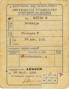 Distributie stamkaart van Thea Bouhuijs